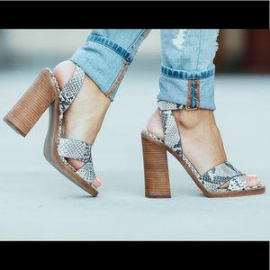 Steve Madden snake print blocked heels